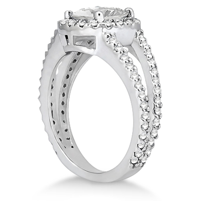 Split Shank Pave Halo Diamond Engagement Ring Platinum (0.75ct)