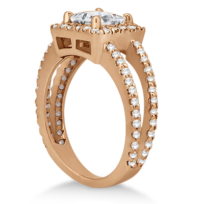 Princess Cut Halo Diamond Engagement Ring 14k Rose Gold (0.72ct)