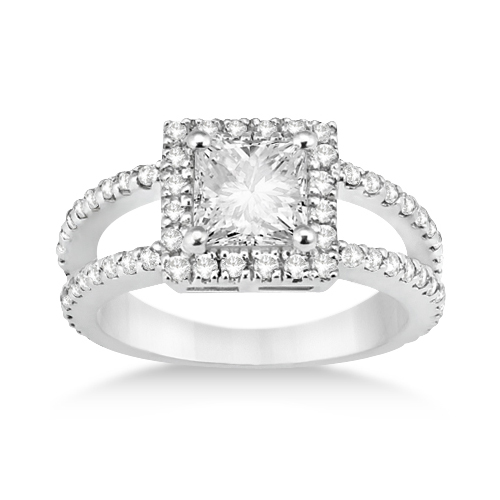 Princess Cut Halo Diamond Engagement Ring 14k White Gold (0.72ct)