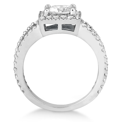 Princess Cut Halo Diamond Engagement Ring 14k White Gold (0.72ct)