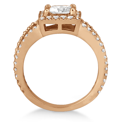 Princess Cut Halo Diamond Engagement Ring 18k Rose Gold (0.72ct)