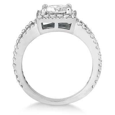 Princess Cut Halo Diamond Engagement Ring 18k White Gold (0.72ct)