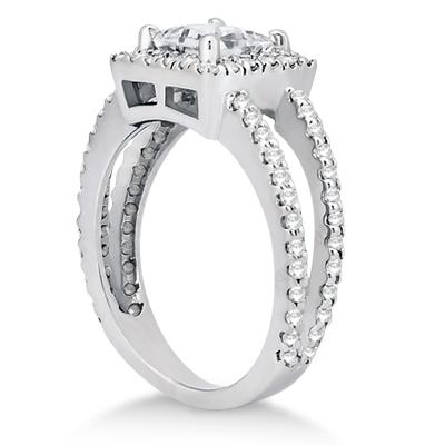 Princess Cut Halo Diamond Engagement Ring Setting Platinum (0.72ct)