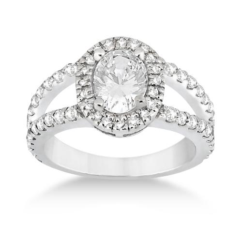 Split Shank Oval Halo Diamond Engagement Ring 14k White Gold (0.90ct)