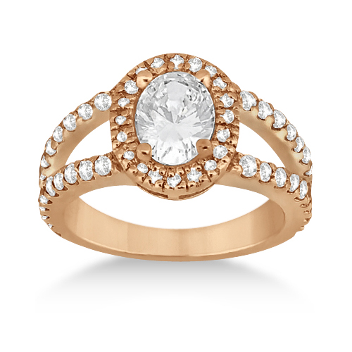 Split Shank Oval Halo Diamond Engagement Ring 18k Rose Gold (0.90ct)