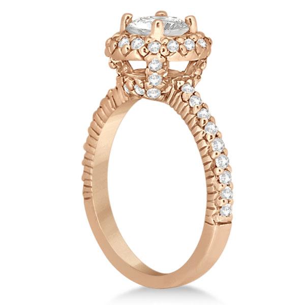 Round Diamond Halo Engagement Ring Setting 14k Rose Gold (0.75ct)