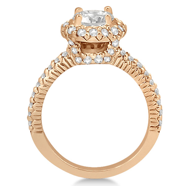 Round Diamond Halo Engagement Ring Setting 18k Rose Gold (0.75ct)