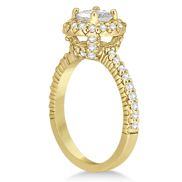 Round Diamond Halo Engagement Ring Setting 18k Yellow Gold (0.75ct)