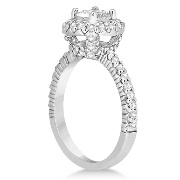 Round Diamond Halo Engagement Ring Setting Platinum Gold (0.75ct)