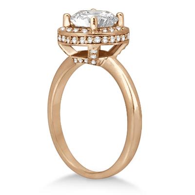 Floating Halo Diamond Engagement Ring Setting 14k Rose Gold (0.40ct)