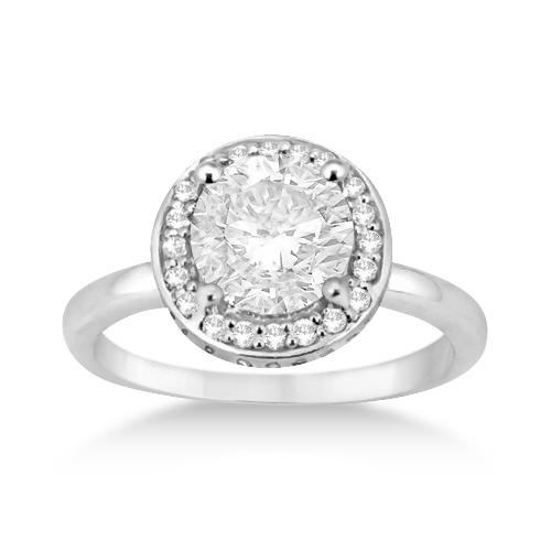 Floating Halo Diamond Engagement Ring Setting Platinum (0.40ct)