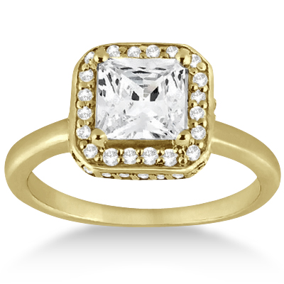 Princess Cut Halo Diamond Engagement Ring 18k Yellow Gold (0.35ct)