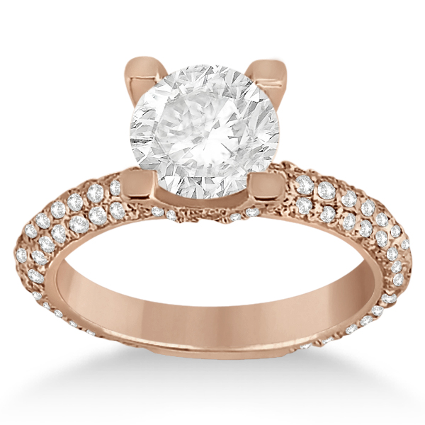 Eternity Pave Set Trio Diamond Engagement Ring 14K Rose Gold (0.88ct)
