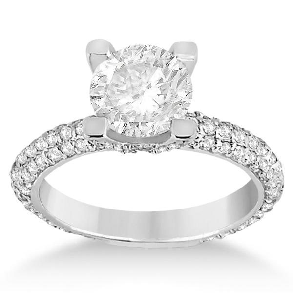 Eternity Pave Set Trio Diamond Engagement Ring 14K White Gold (0.88ct)