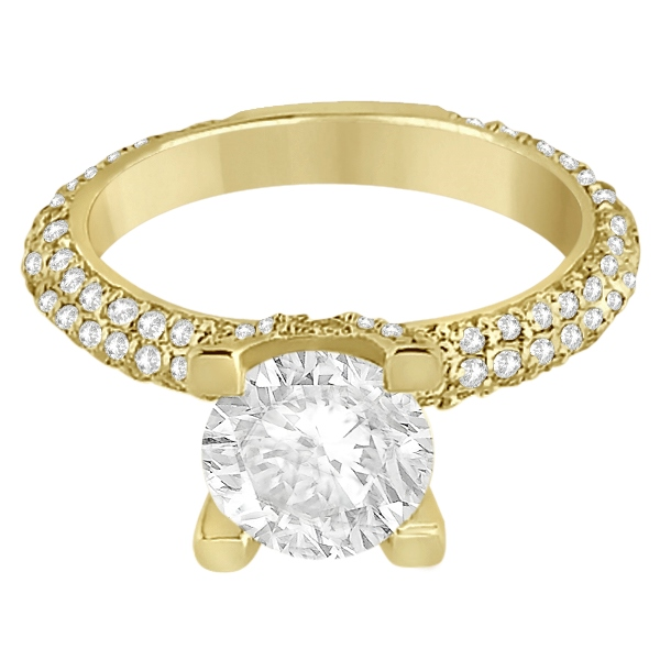 Eternity Pave Set Trio Diamond Engagement Ring 14K Yellow Gold (0.88ct)