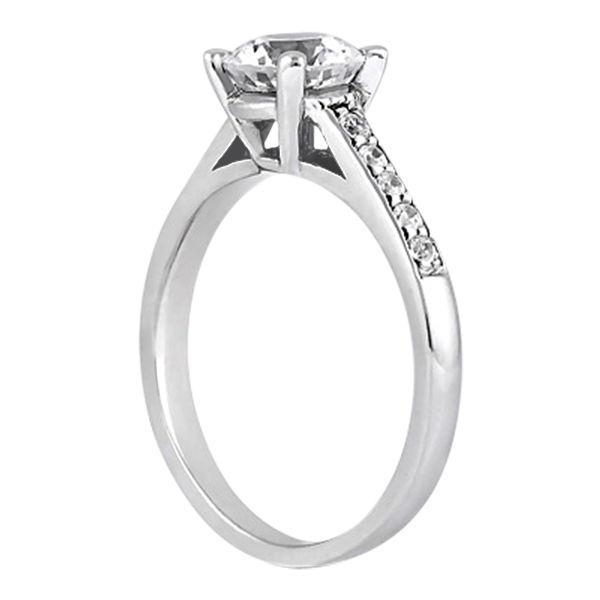 Cathedral Pave Diamond Engagement Ring Setting 14k White Gold (0.20ct)