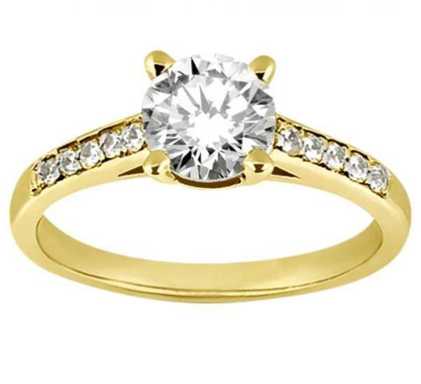 Cathedral Pave Diamond Engagement Ring Setting 14k Yellow Gold (0.20ct)