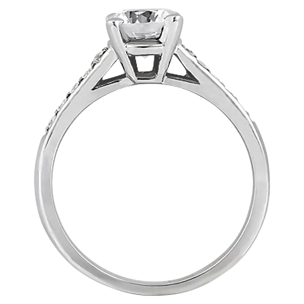 Cathedral Pave Diamond Engagement Ring Setting 18k White Gold (0.20ct)