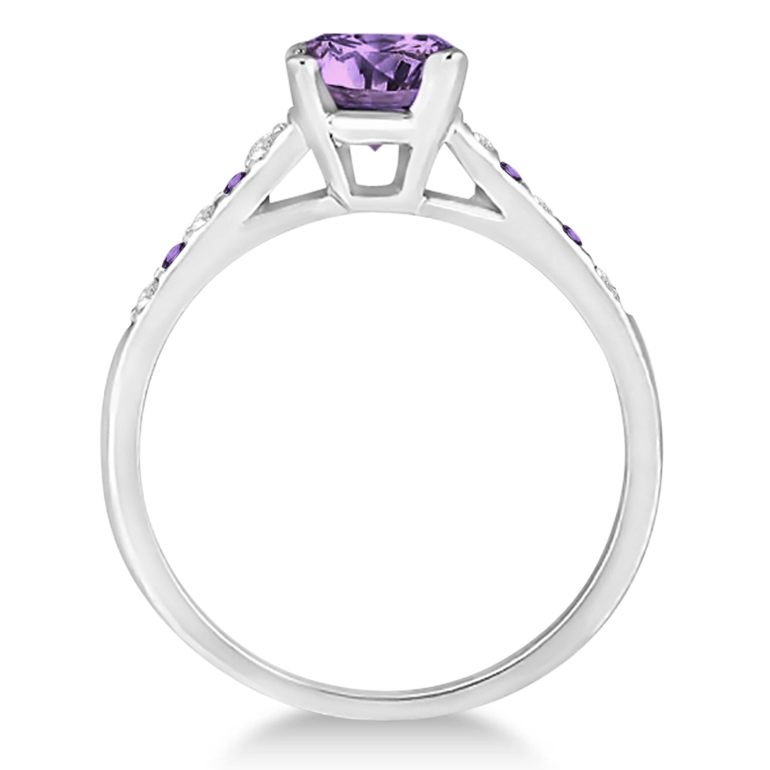 Cathedral Amethyst & Diamond Engagement Ring 14k White Gold