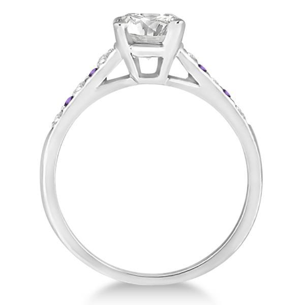 Cathedral Amethyst & Diamond Engagement Ring Palladium (0.20ct)
