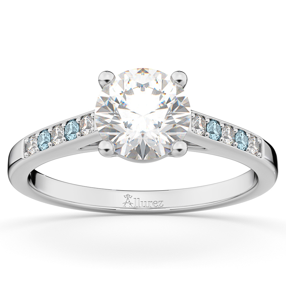 Cathedral Aquamarine & Diamond Engagement Ring 14k White Gold (0.20ct)