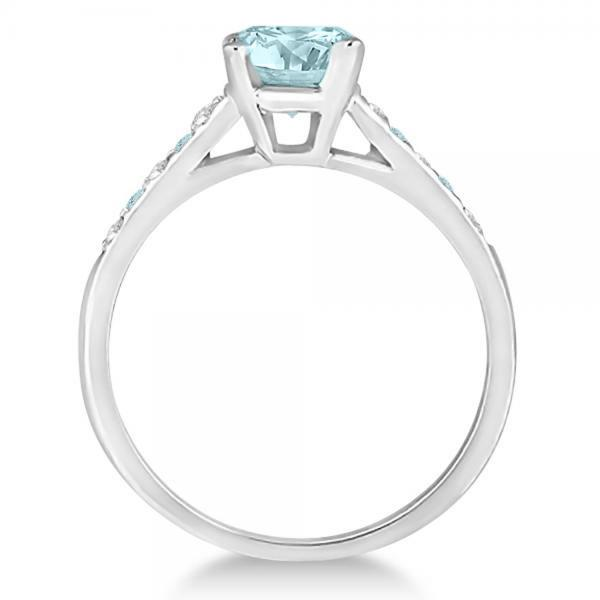 Cathedral Aquamarine & Diamond Engagement Ring Platinum (1.20ct)