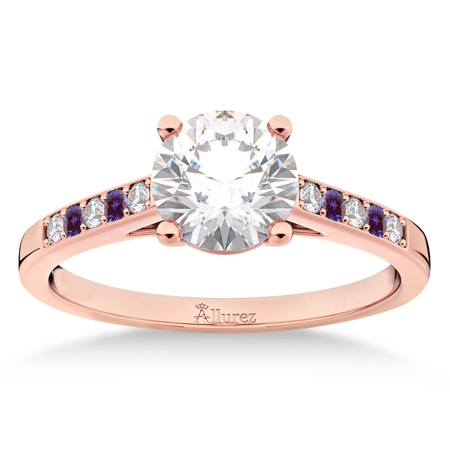 Cathedral Lab Alexandrite & Diamond Engagement Ring 14k Rose Gold (0.20ct)