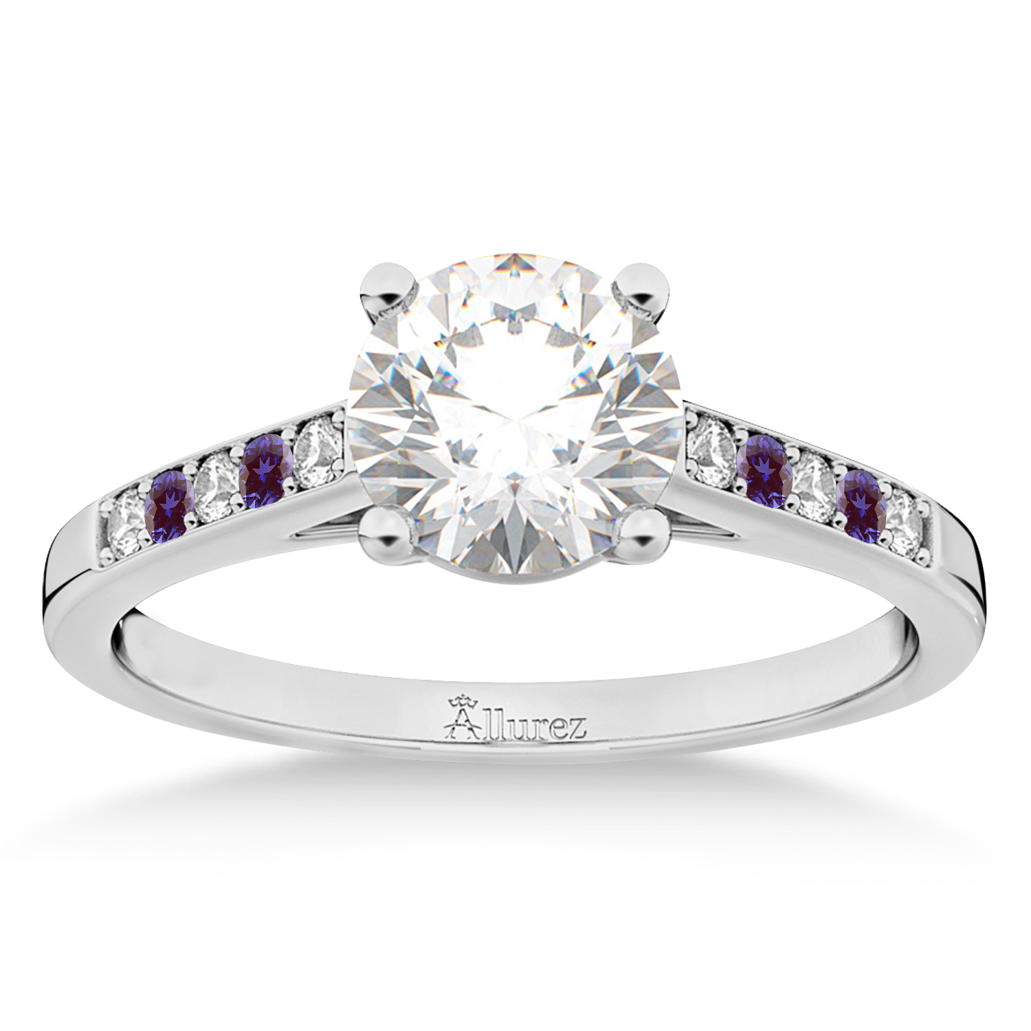 Cathedral Lab Alexandrite & Diamond Engagement Ring 14k White Gold (0.20ct)