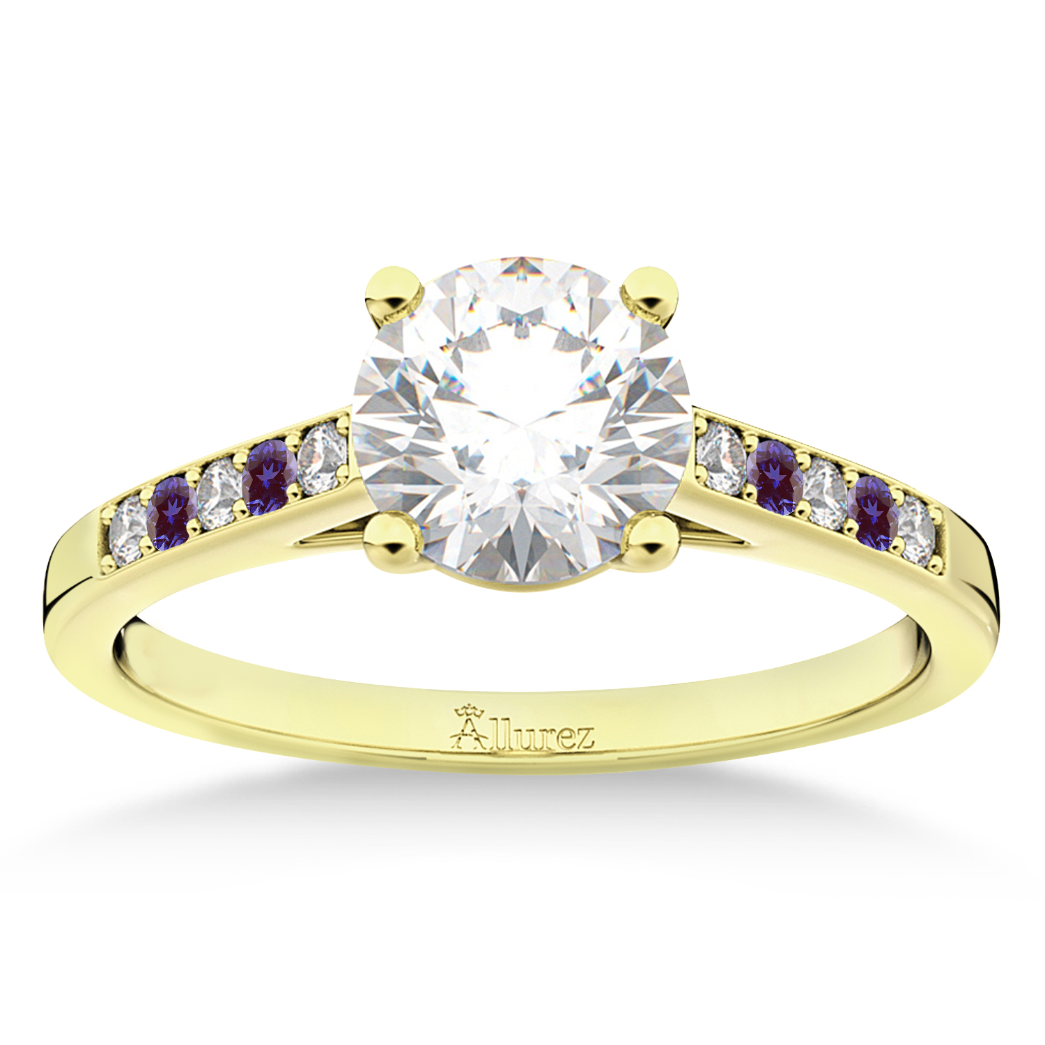 Cathedral Lab Alexandrite & Diamond Engagement Ring 18k Yellow Gold (0.20ct)