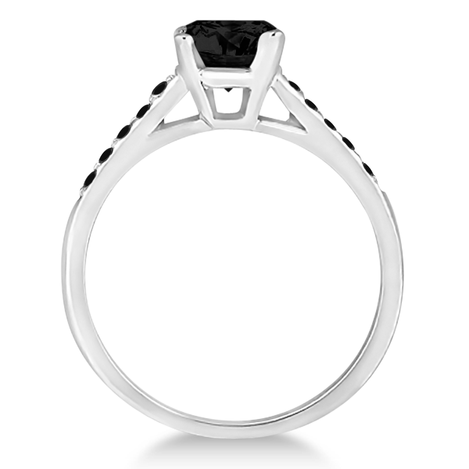 Cathedral Black Diamond Engagement Ring 14k White Gold (1.20ct)