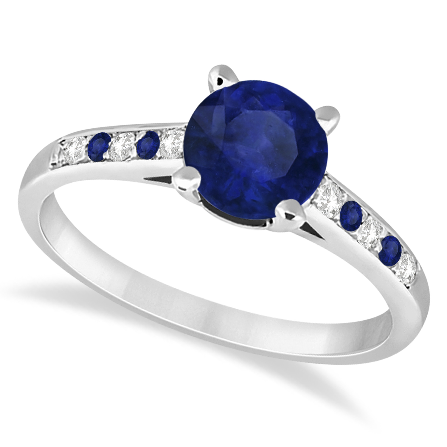 Cathedral Blue Sapphire & Diamond Engagement Ring 14k White Gold (1.20ct)