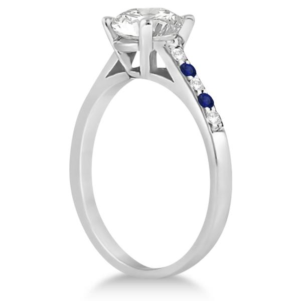 Cathedral Pave Sapphire & Diamond Engagement Ring Palladium (0.20ct)