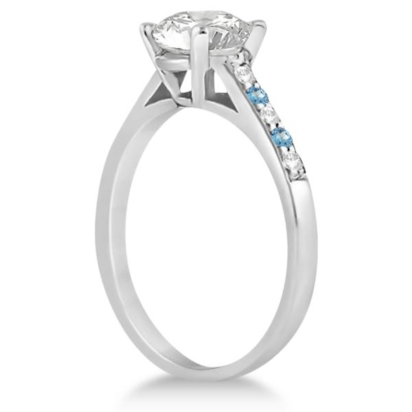 Cathedral Blue Topaz & Diamond Engagement Ring Palladium (0.20ct)