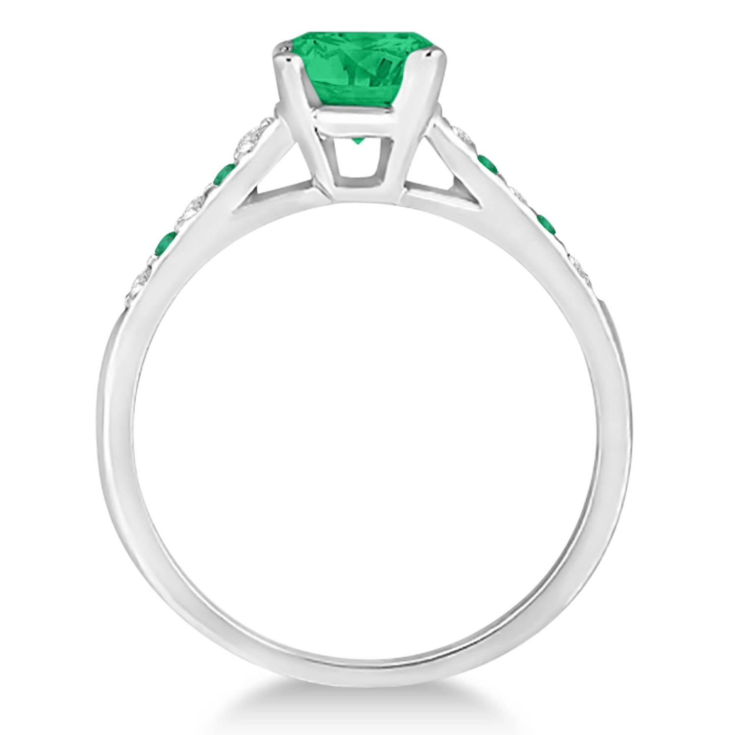 Cathedral Emerald & Diamond Engagement Ring 14k White Gold (1.20ct)