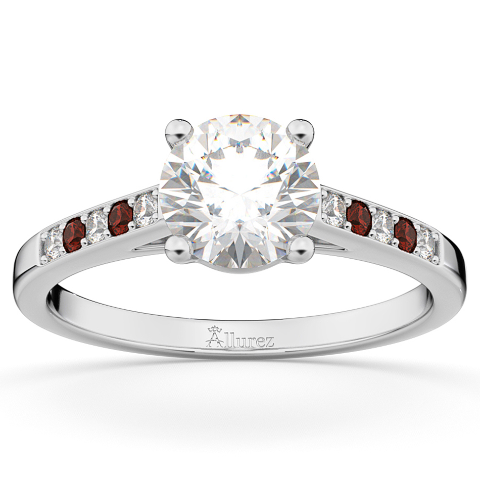 Cathedral Garnet & Diamond Engagement Ring 18k White Gold (0.20ct)