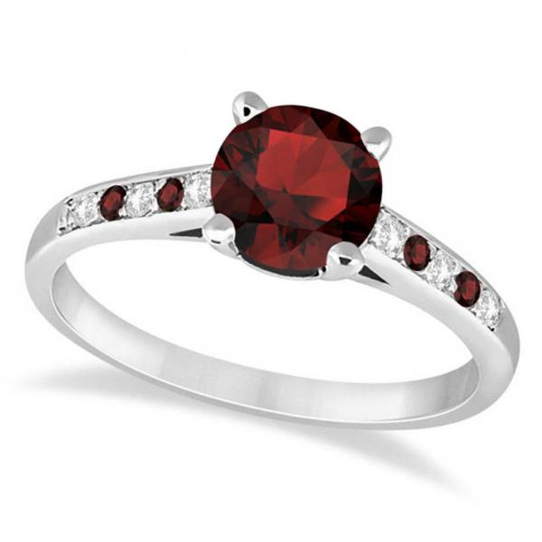 Cathedral Garnet & Diamond Engagement Ring Platinum (1.20ct)