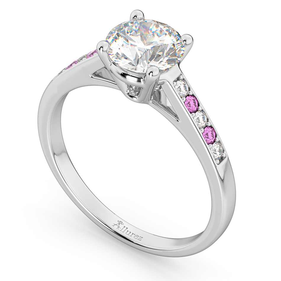 Cathedral Pink Sapphire & Diamond Engagement Ring 14k White Gold (0.20ct)