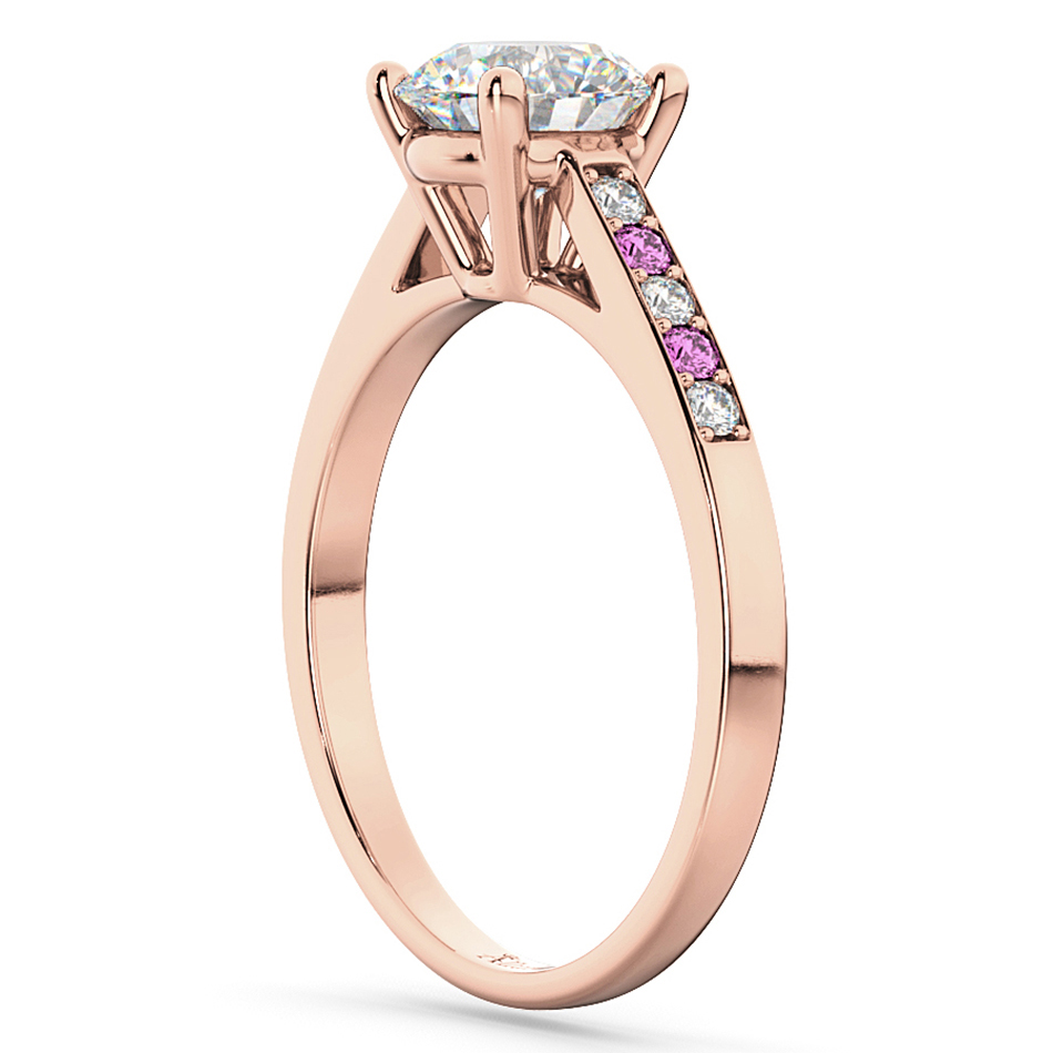 Cathedral Pink Sapphire & Diamond Engagement Ring 18k Rose Gold (0.20ct)