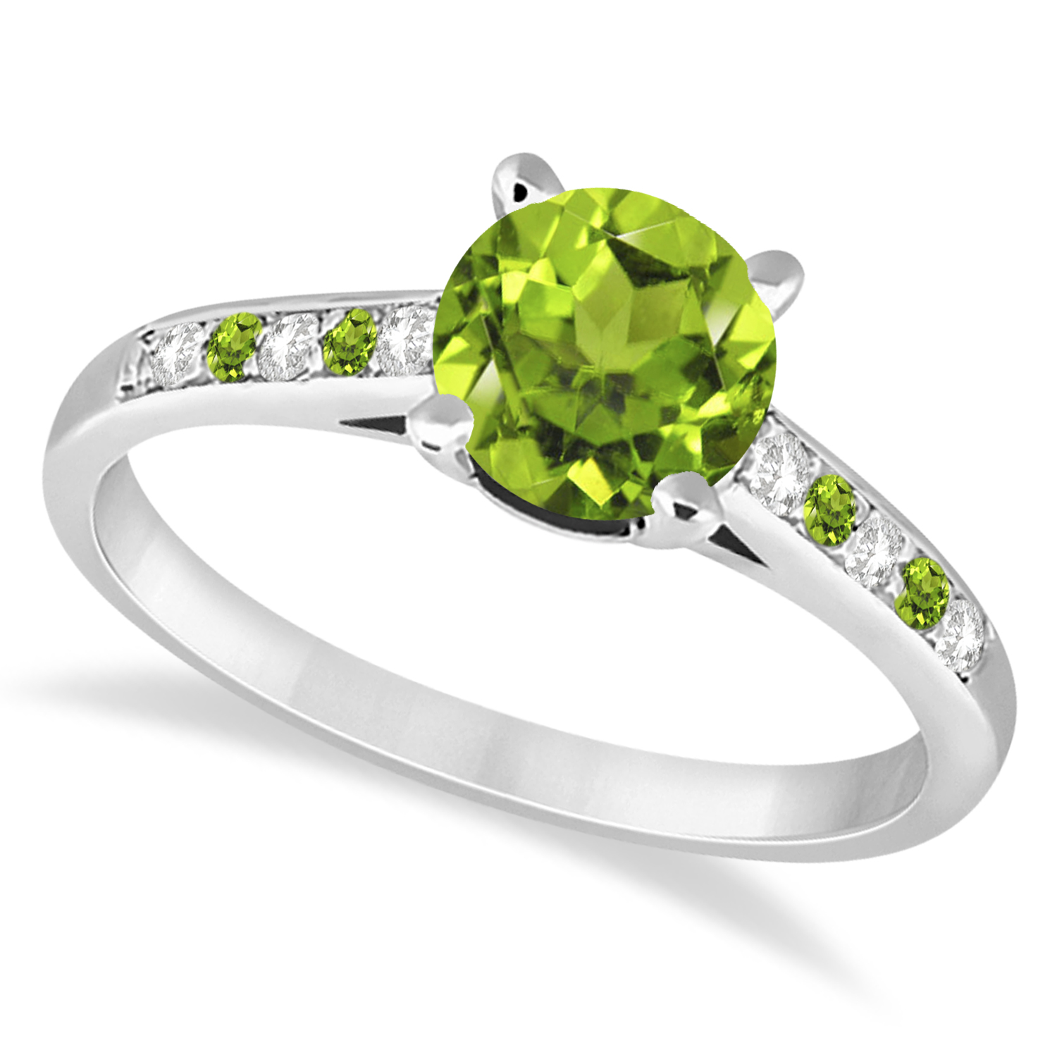 Cathedral Peridot & Diamond Engagement Ring 14k White Gold (1.20ct)