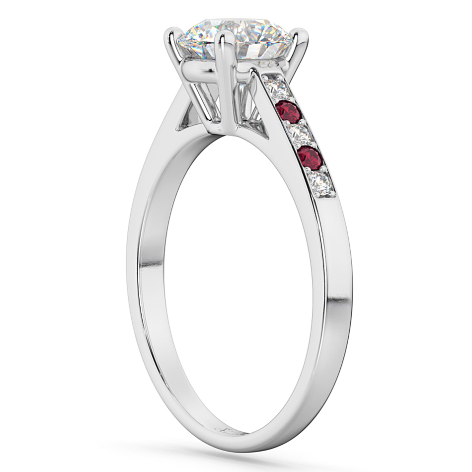 Cathedral Ruby & Diamond Engagement Ring 14k White Gold (0.20ct)