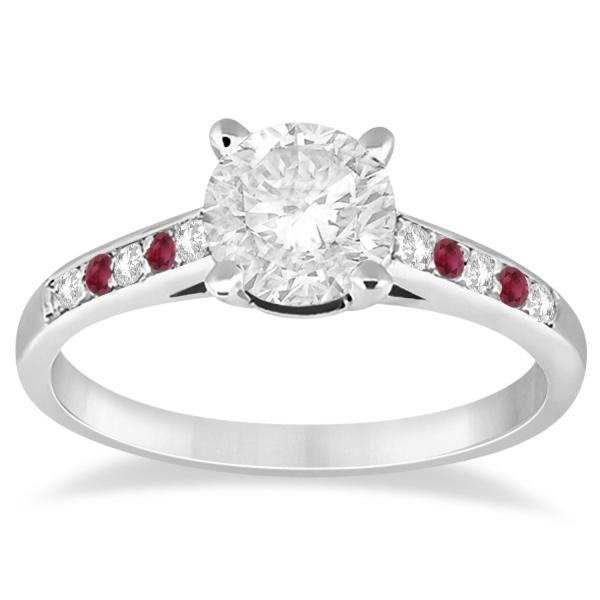 Cathedral Ruby & Diamond Engagement Ring Palladium (0.20ct)