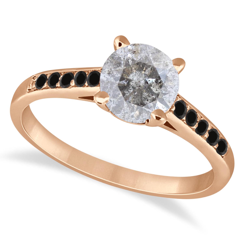 Cathedral Salt & Pepper & Black Diamond Engagement Ring 18k Rose Gold (1.20ct)