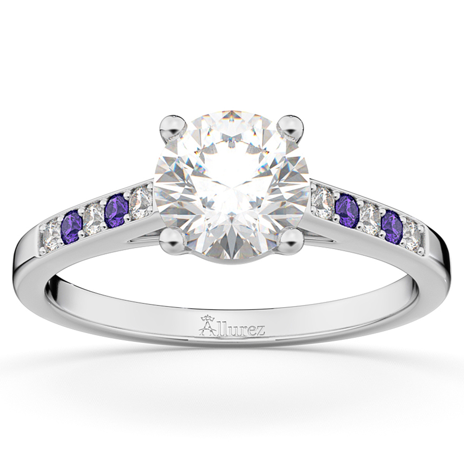 Cathedral Tanzanite & Diamond Engagement Ring 14k White Gold (0.20ct)