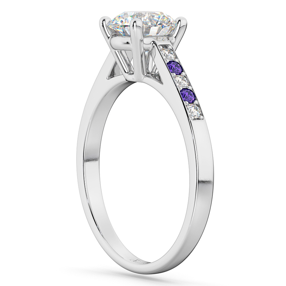 Cathedral Tanzanite & Diamond Engagement Ring 18k White Gold (0.20ct)