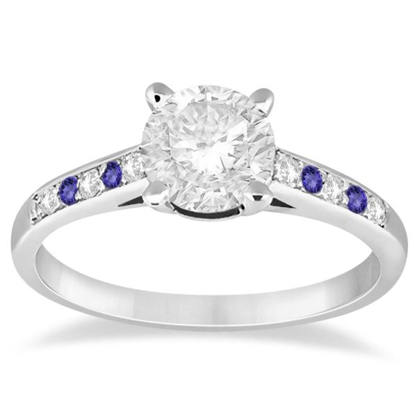 Cathedral Tanzanite & Diamond Engagement Ring Palladium (0.20ct)