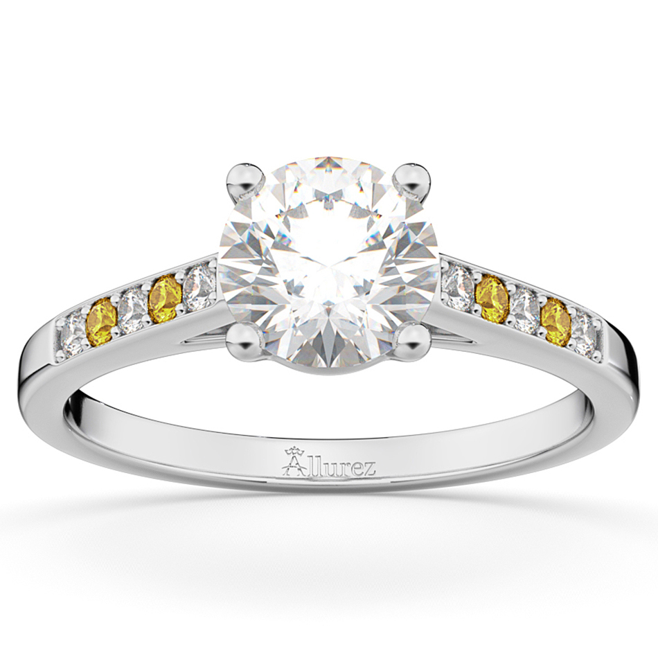 Cathedral Yellow Sapphire & Diamond Engagement Ring 14k White Gold (0.20ct)