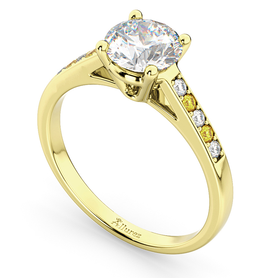 Cathedral Yellow Sapphire & Diamond Engagement Ring 14k Yellow Gold (0.20ct)