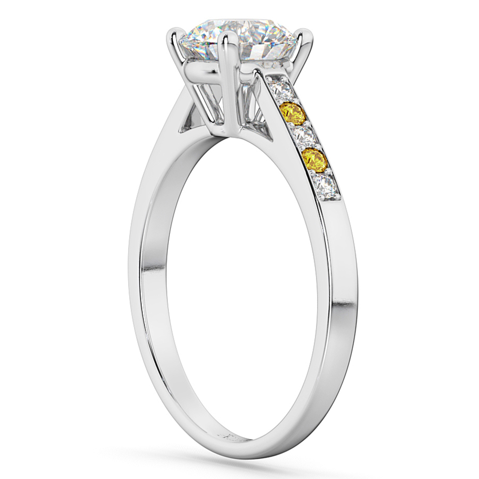 Cathedral Yellow Sapphire & Diamond Engagement Ring 18k White Gold (0.20ct)