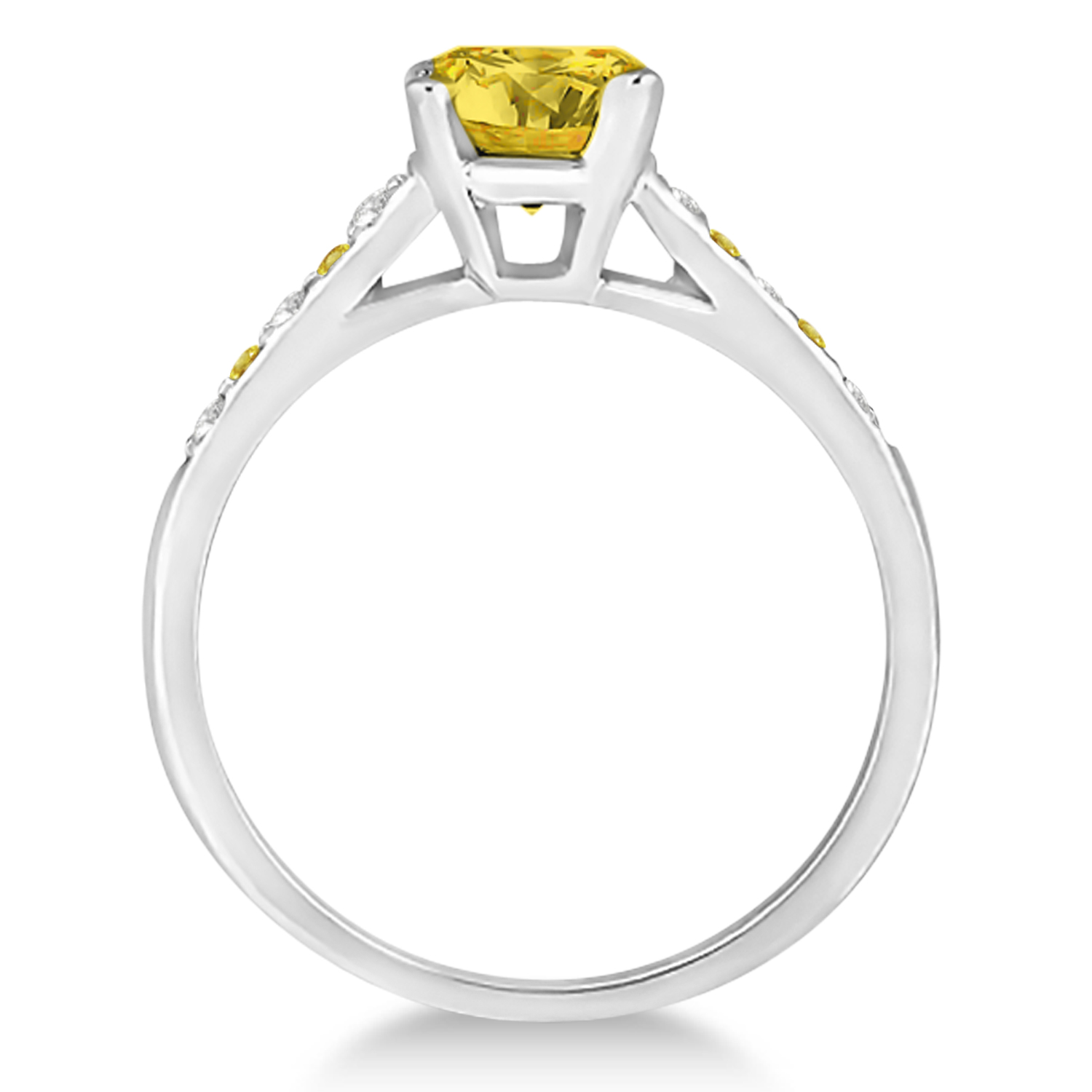 Cathedral Yellow Sapphire & Diamond Engagement Ring 14k White Gold (1.20ct)