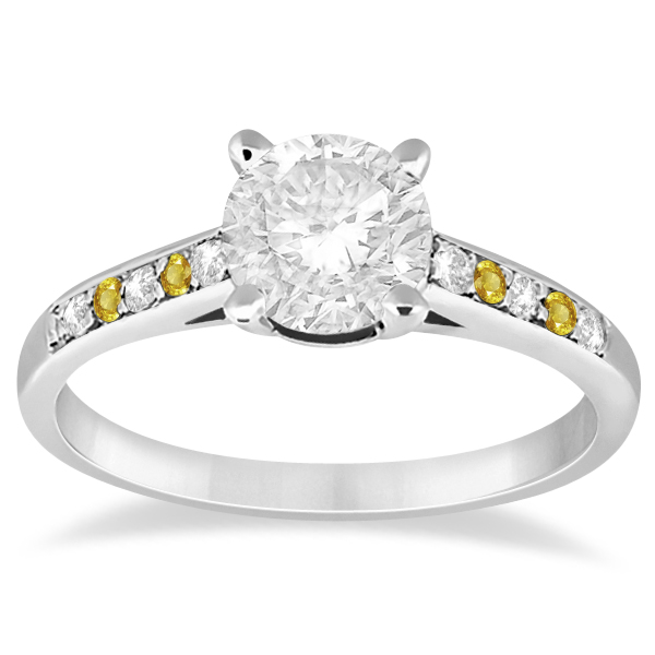 Cathedral Yellow Sapphire & Diamond Engagement Ring Platinum (0.20ct)